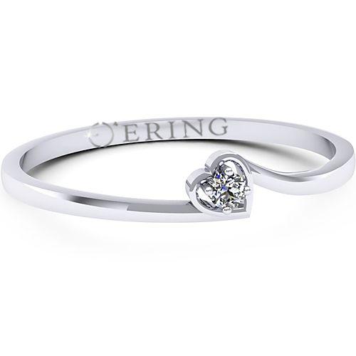 Inel de logodna realizat din aur alb, cu un diamant de 0.03 ct, cu un design delicat.