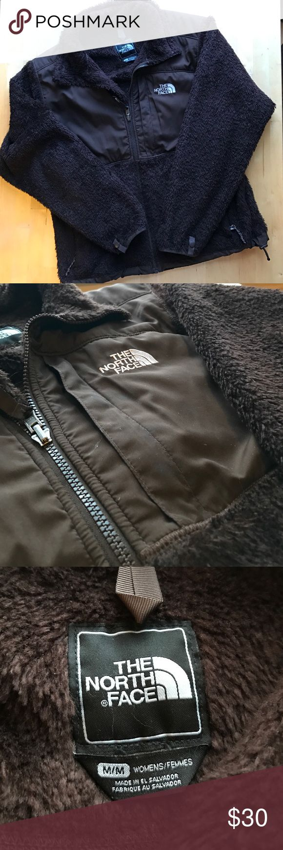 North Face Furry Brown Women's Zip-Up The North Face || Size M || Small hole on bottom left side (see 4th picture) The North Face Jackets & Coats Utility Jackets