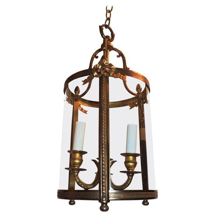 Замечательный французский ленты лук Бронзовые Три-Light Фонарь Люстра Светильник 1