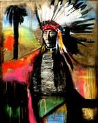 Discover Original Art for Sale Online at UGallery | A Chief and Paradise mixed media artwork by Scott Dykema