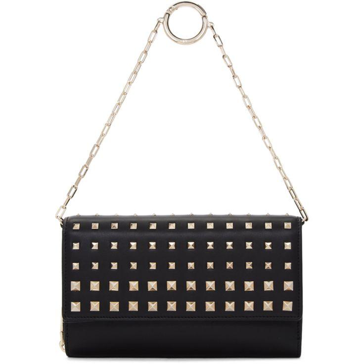 Valentino - Black Valentino Garavani Rockstud Wallet Chain Bag