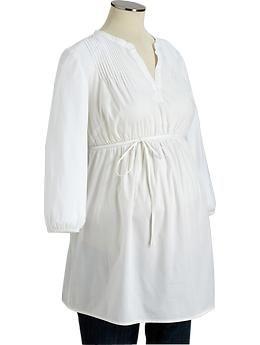 Maternity Pintucked Poplin Tunics. Old Navy