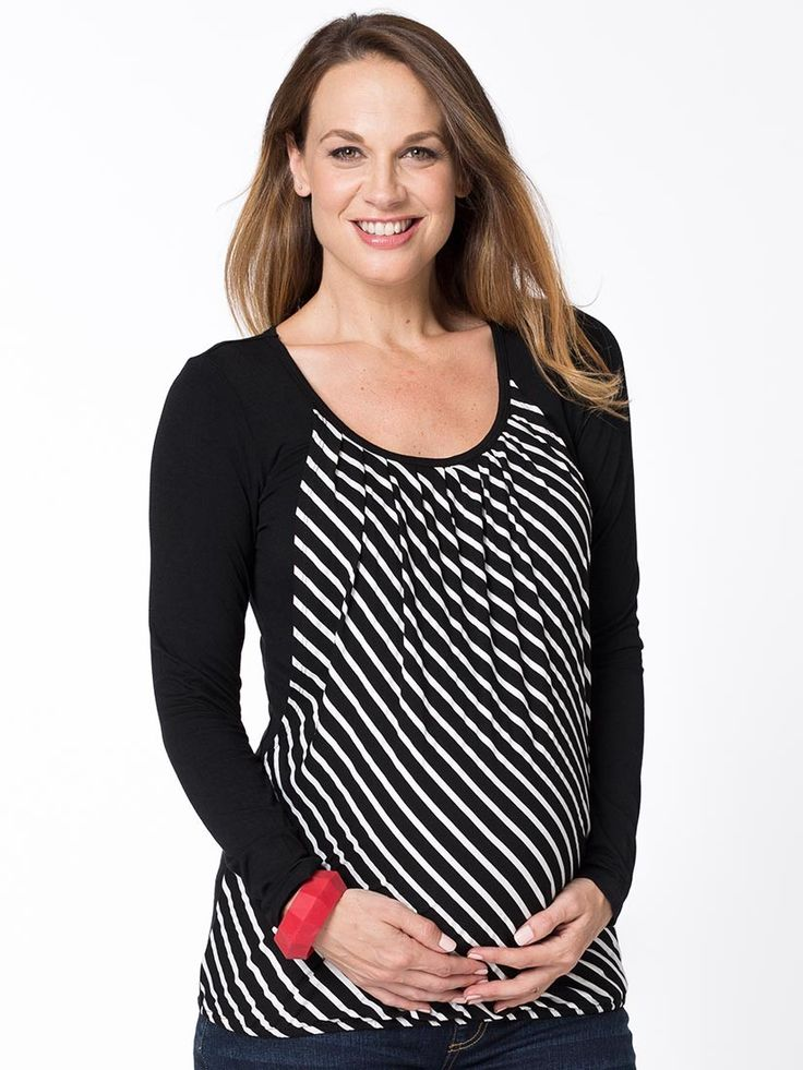 SkewStripe Bubble Nursing Top from breastmates.co.nz -- The stripes are on a skew with this quirky bubble hem top! Dual wear for maternity and breastfeeding.
