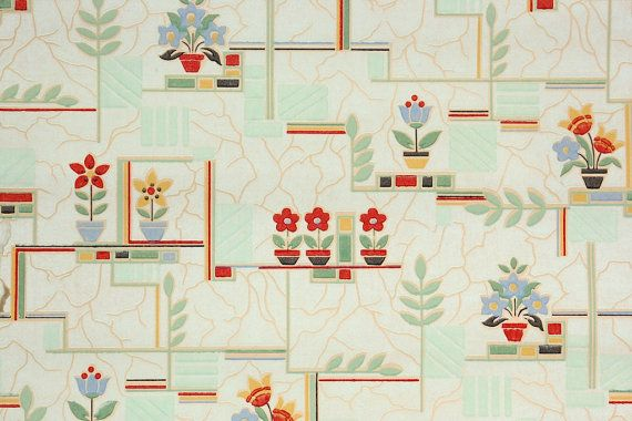 1930's Vintage Wallpaper Retro and Kitchen by HannahsTreasures