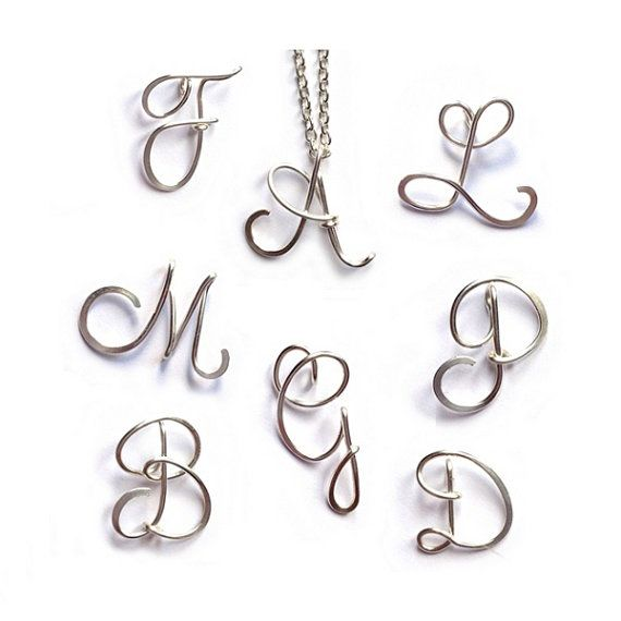 Personalised Initial Necklace | Sterling Silver Wire Letter Necklace | Calligraphy Script Necklace | Bridesmaid Jewellery | Jewellery UK