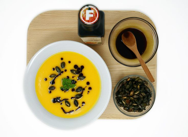 Croatian Pumpkin Seed Oil with delicious Pumpkin soup and don't forget to Feel Fine!  Ingredients: • 1 butternut pumpkin peeled and chopped • 2 carrots finely chopped • 2 celery stalks finely chopped  • 1 onion  • 1 clove garlic chopped • 1 tbs coconut oil  • 1 tbs fresh ginger grated • 1 bunch coriander • 1 litre vegetable stock (4 cups) • 250 ml Coconut milk  • Salt, freshly grated nutmeg and ground black pepper • Feel Fine Food Pumpkin Seed Oil • 100 g roasted pumpkin seeds