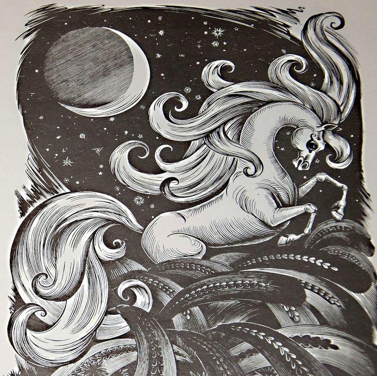 Черно белый рисунок конька горбунка