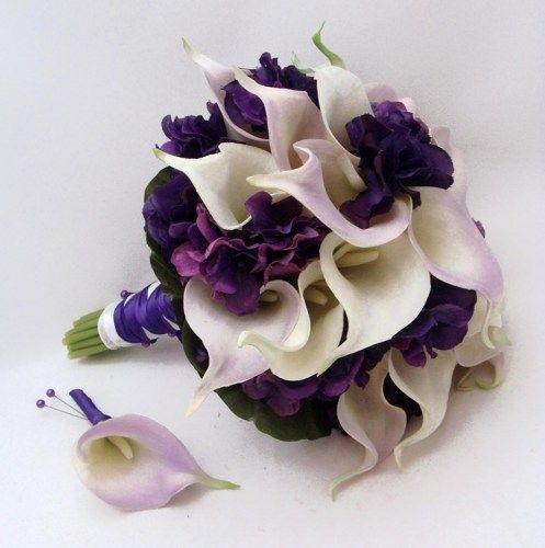 Wedding Bridal Bouquet Real Touch Calla Lily Hydrangea Bridal Bouquet