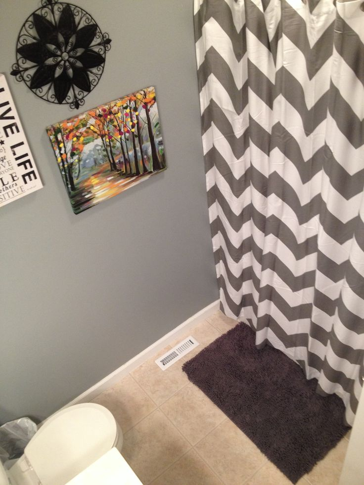Small Bathroom Redecorated With Grey West Elm Chevron