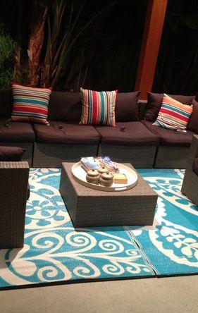 Earth de Fleur Homewares - Paisley Aqua Indoor Outdoor Rug