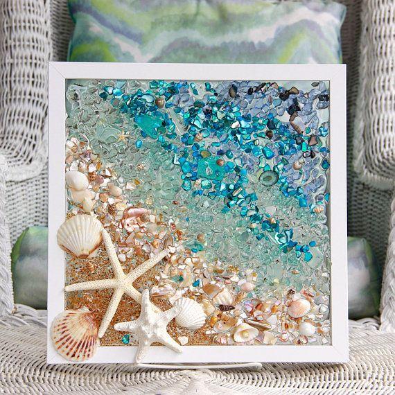Seaglassart Beachhouse Beachglass Wallhanging