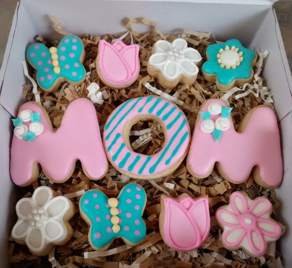 Mother's day sugar cookies letters ,tulips,flowers,butterflies ,royal icing