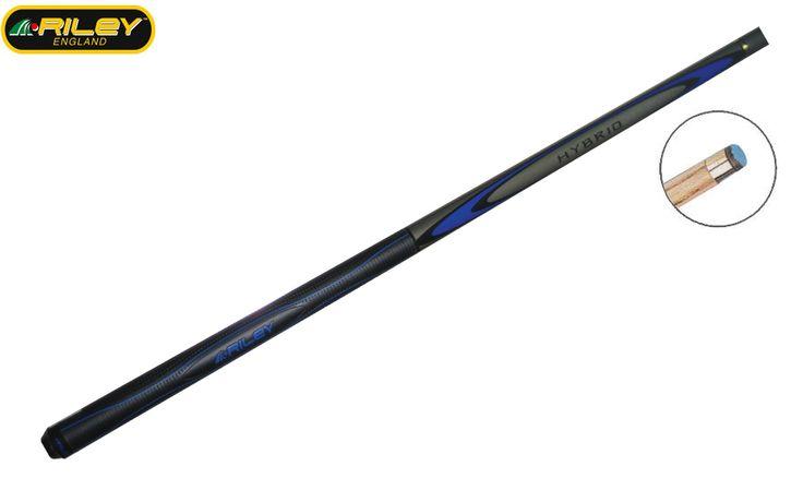 Queue billard Riley Hybrid 3 (1/2)  Longueur : 145 cm. Jonction : 1/2. Embout : Collé de 9.5 mm Blue Diamond. Flèche : Frêne. Fût : Bois exotique.