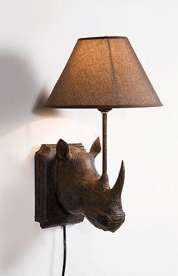 Brown Rhino Wall Light with Brown Lamp Shade | eBay