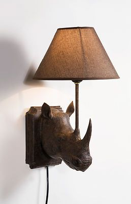 Brown Rhino Wall Light with Brown Lamp Shade | eBay