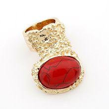 Новые ювелирные изделия Европейский стиль royal оптовая мода HOT кролик глава панк винтаж gem палец кольцо золото красный драгоценный камень кольца женщины