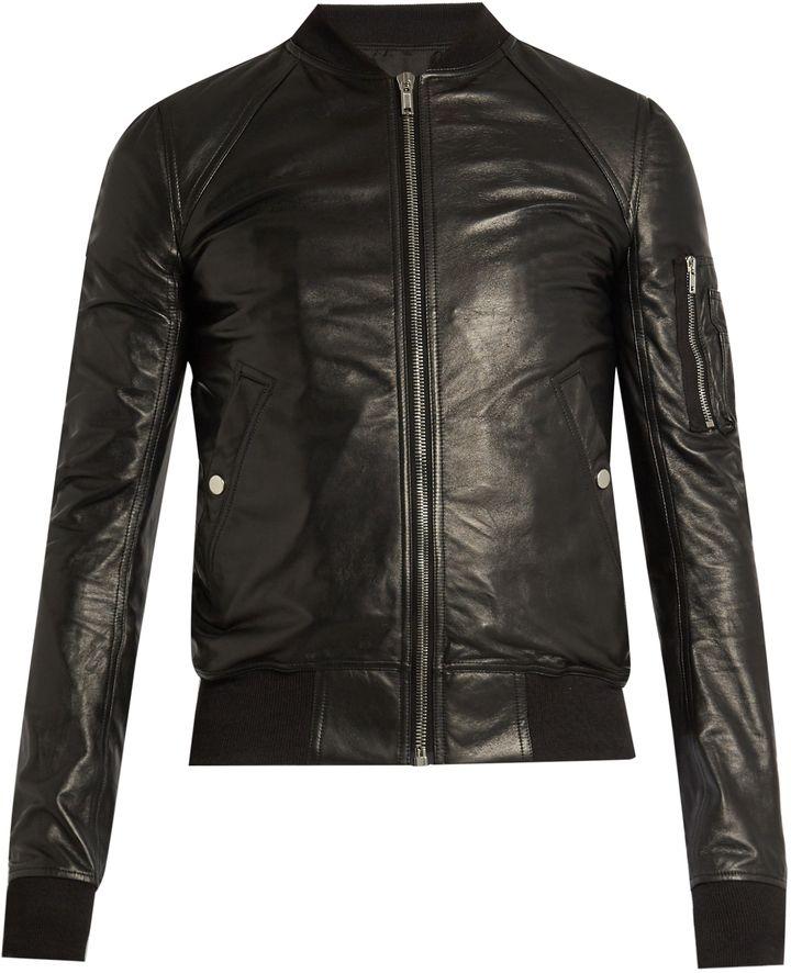 RICK OWENS Sleeve-pocket leather bomber jacket