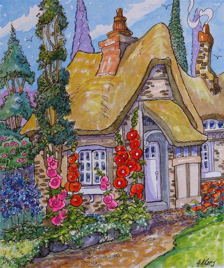 Good Morning Sunshine Storybook Cottage Series Original Fine Art By Alida Akers