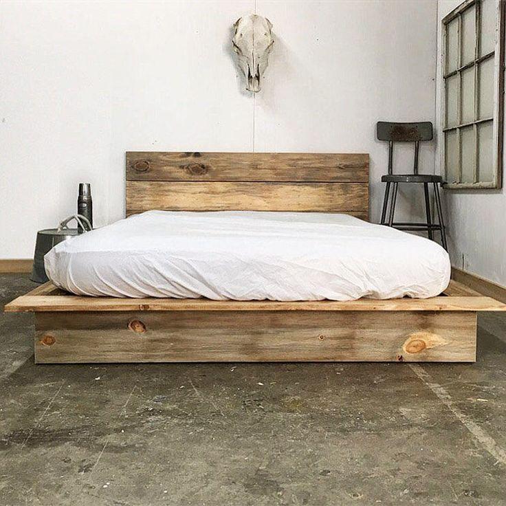 Best 25 rustic platform bed ideas on pinterest platform for Used wooden bed frames
