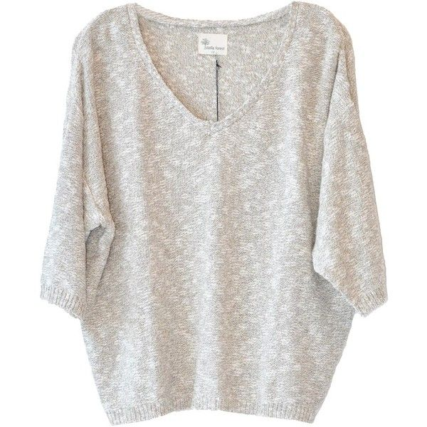 Stella Forest Lightweight Sweater (€130) ❤ liked on Polyvore featuring tops, sweaters, shirts, blusas, sweater pullover, lightweight sweaters, 3/4 length sleeve shirts, v neck pullover sweater and v neck sweater