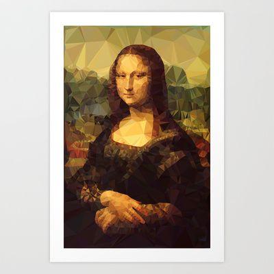 Mona Lisa | Polygon Art Art Print by Mirek Kodes