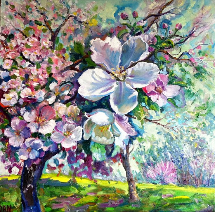 Blooming apple garden oil on canvas 36x36 in