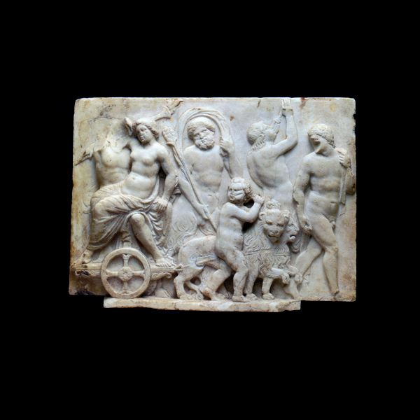 """Roman Marble Relief Depicting the Wedding Procession of Ariadne and Dionysus.- SP.112          Origin: Europe          Circa: 150 AD to 175 AD          Dimensions: 11.25"""" (28.6cm) high x 15.75"""" (40.0cm) wide          Collection: Roman Imperial          Medium: Marble"""