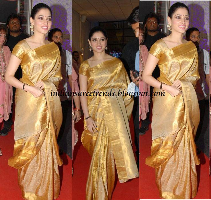 Latest Traditional and Designer Sarees: Tamanna in Traditional Gold colour Pattu Saree
