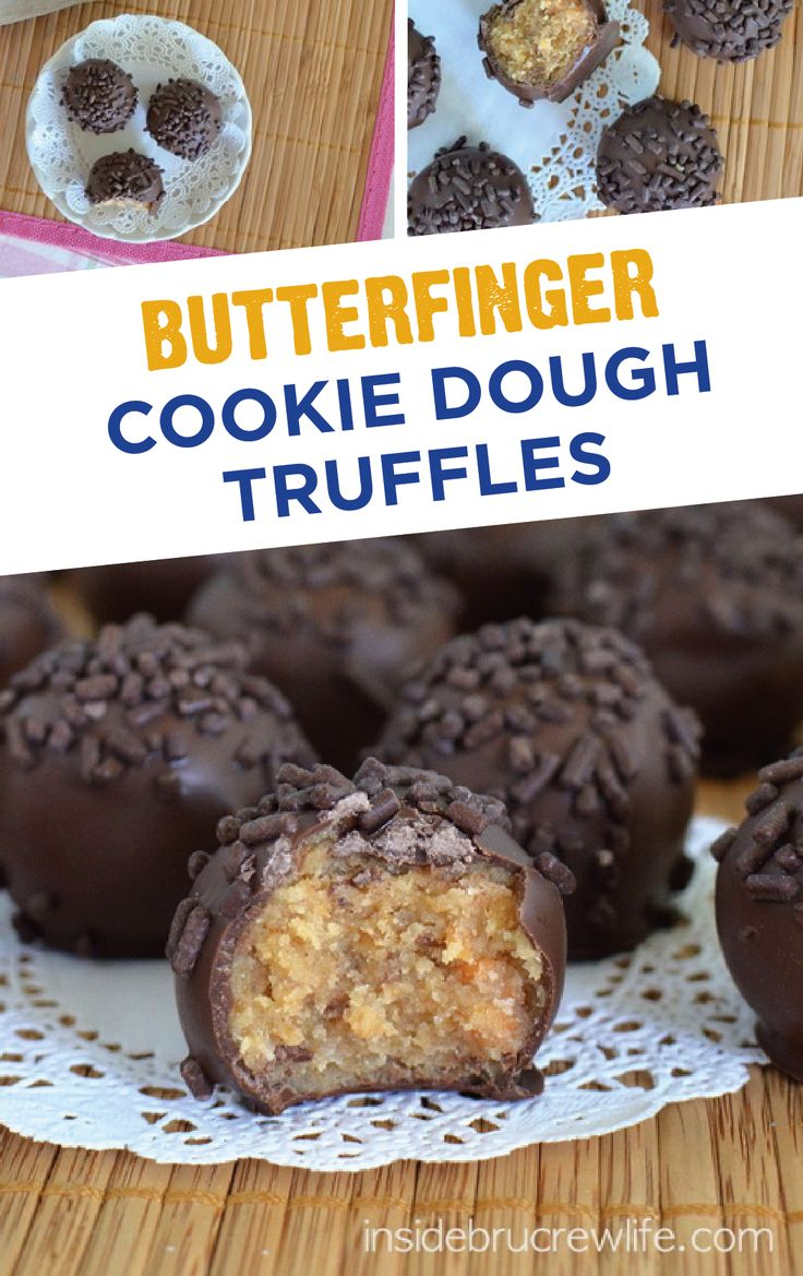 Looking for a sweet treat to give as a gift this spring season? Make this decadent dessert recipe for Butterfinger Cookie Dough Truffles, and wrap them up for your friends and family. With a crispety, crunchety, peanut-buttery taste in every bite, this bite size treat is topped with chocolate sprinkles and will satisfy any sweet tooth cravings.