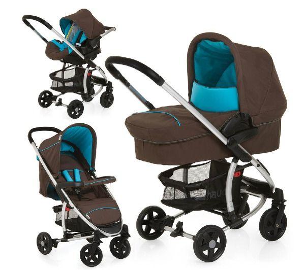 HAUCK Miami 4 Trio Set - café/azul Capri - Pack carrito para bebés