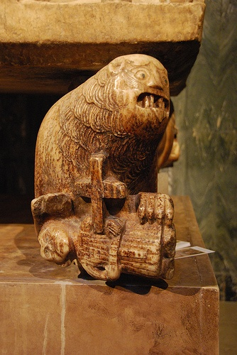 Cathedral of San Catervo in Tolentino The lion is often used in early Christian art to represent the powers attempting to destroy the Church; four such figures are on the base of sarcophagus in the church of San Catervo in Tolentino.