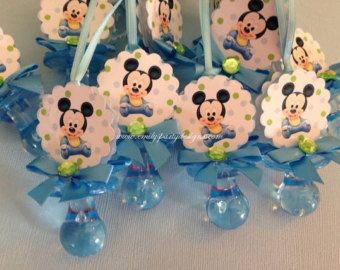 Baby Mickey Mouse  Baby Shower Pacifier Necklace, Pacifier Mickey Mouse Favor (Price per Dozen)