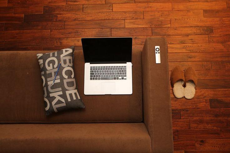 Escritório Em Casa, Notebook, Home, Sofá, Canapé