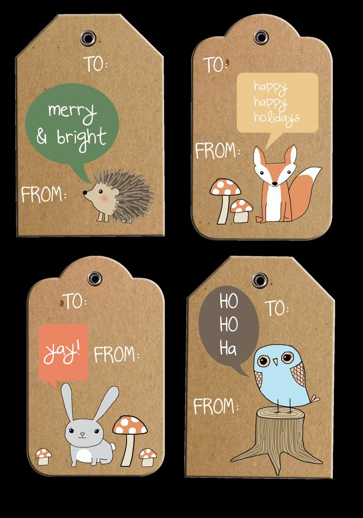 rustic woodland holiday gift tags    free printable