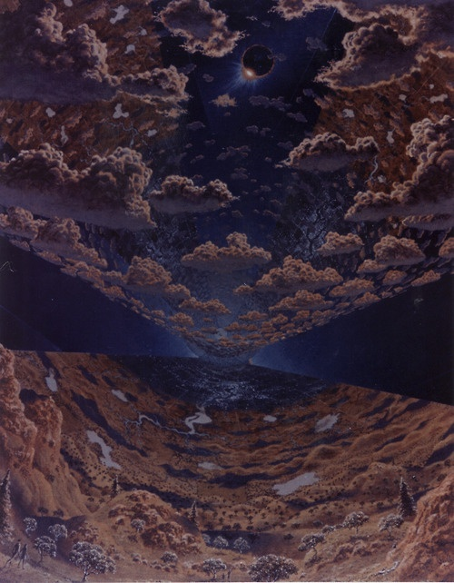 Interior featuring clouds and vegetation  (via Space Colony Art from the 1970s)