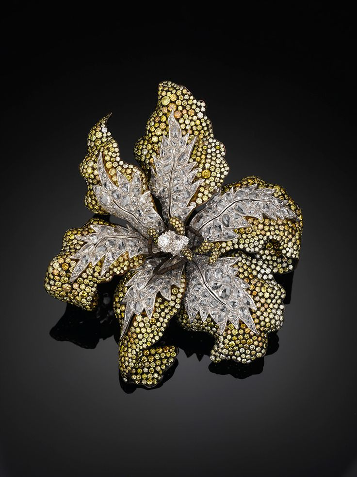 White and Yellow Diamond Brooch - Carnet by Michelle Ong