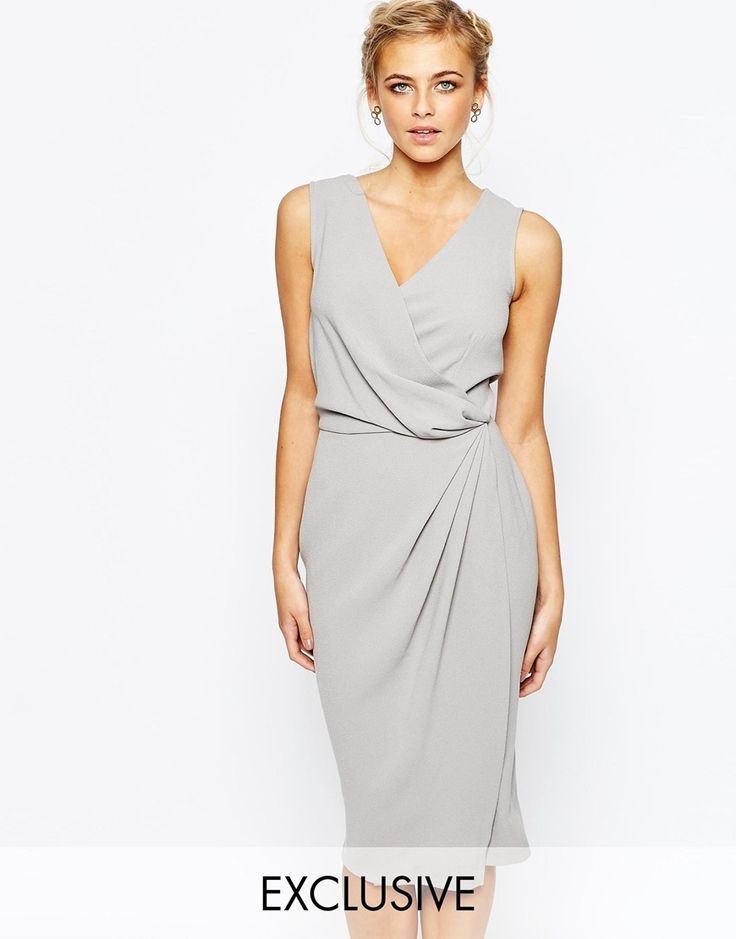 Image 1 ofCloset Wrap Front Knee Length Midi Pencil Dress