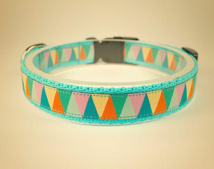 Obroża dla psa Triangle pastels lazure - OssoDiCane - Obroże dla psów
