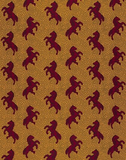 Jumping Horse • This classic design, a depiction of a rearing horse, is generally known as the Jumping Horse. In Nigeria it is traditionally worn by Igbo women at their women's meeting in August. It is known as Je cours plus vite que ma rivale ('I run faster than my rival') in Ivory Coast, where it expresses the rivalry between wives because the rearing horse looks as if it were about to run in a race.