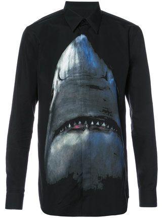 Givenchy camisa con estampado de tiburón
