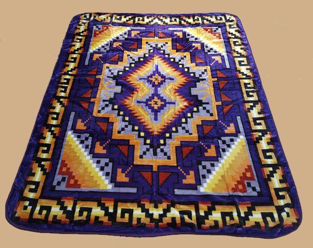 "Southwest Queen Size Blanket 79""x94"" -Sunset Purple (bl5) - Mission Del Rey Southwest"