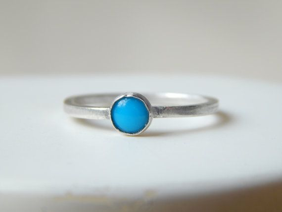 Tiny Turquoise Sterling Silver Stacking Ring  by KowalaBeads