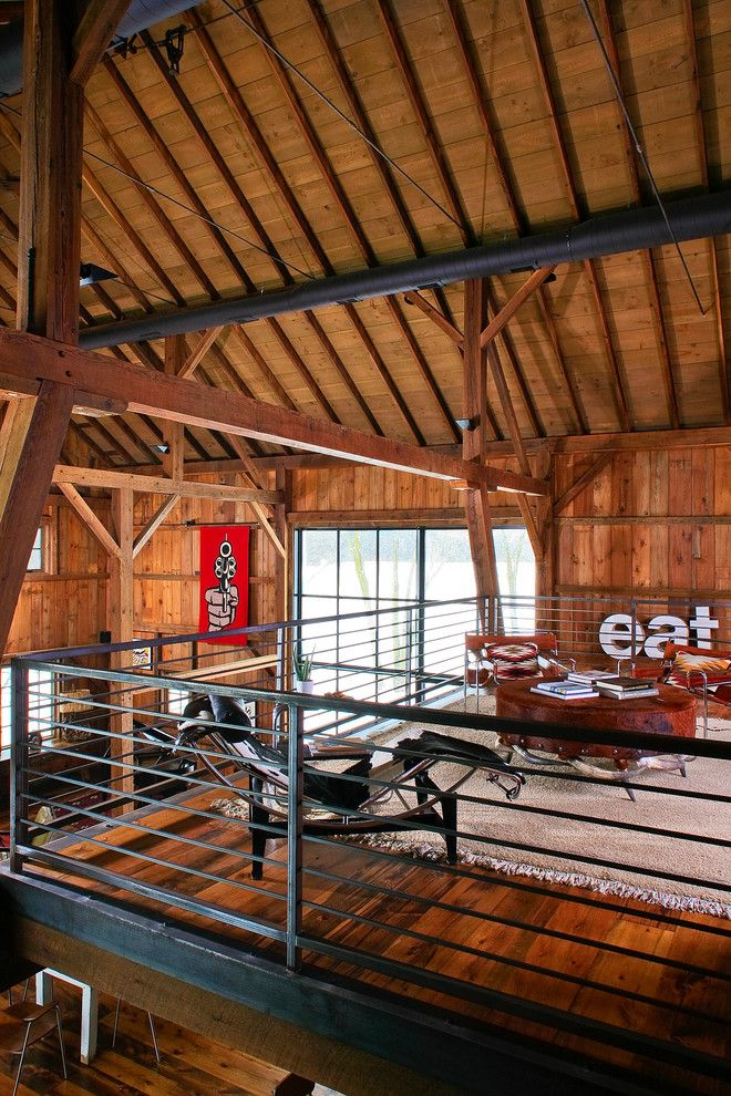 rustic roof design with wooden futons family room farmhouse and tall ceilings