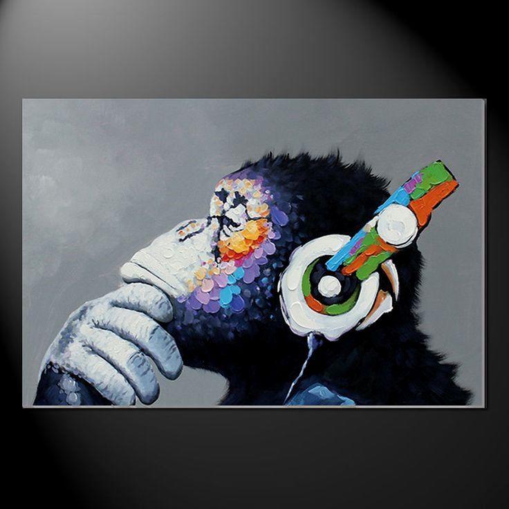 A0 SIZE CANVAS PRINT URBAN funny monkey orangutan  ape GRAFFITI STREET ART
