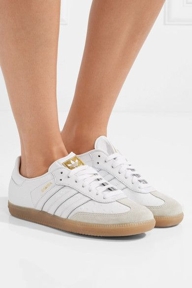 outlet store 29fb7 891e8 ADIDAS ORIGINALS stylish Samba suede-trimmed ostrich-effect leather sneakers