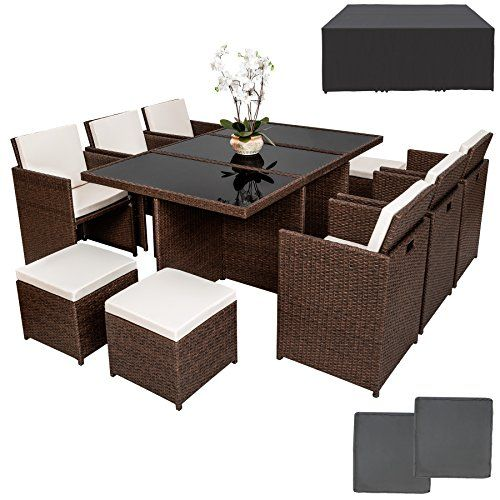 TecTake Rattan Aluminium Garden Furniture Set Outdoor Wicker antique brown 6 4 Seats   1 Table incl. protection slipcover   2sets for exchanging upholstery, stainless steel screws