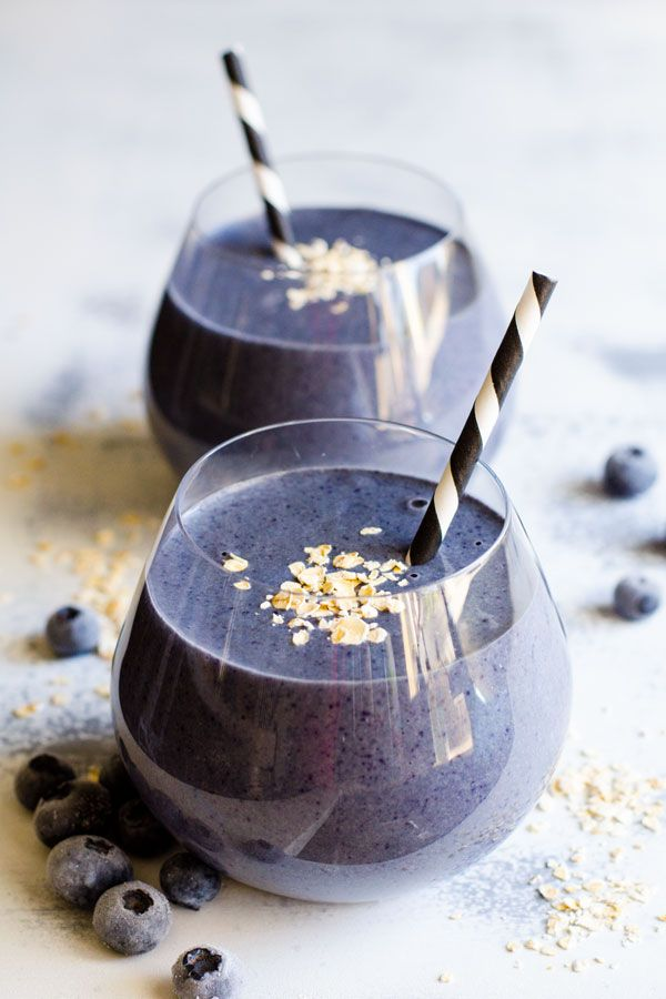 Blueberry Protein Breakfast Smoothie Recipe made with 4 healthy ingredients: plant based nutritional shake protein powder, unsweetened almond milk, oats and blueberries. | ifoodreal.com