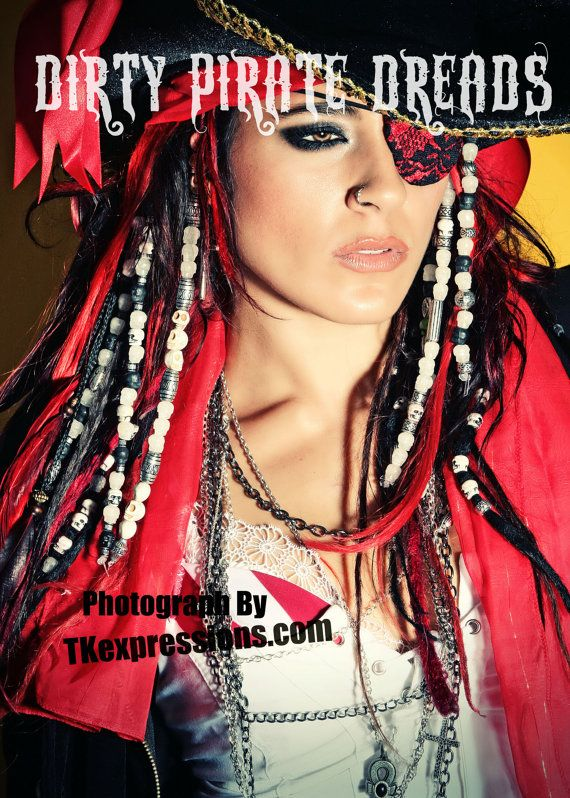 Dirty Pirate Dreads- Clip in hair art. Skull bead hair dread extensions by Cara Maria on Etsy, $18.95