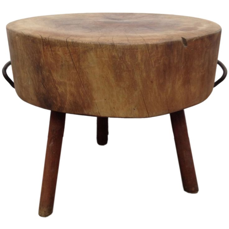 Exceptional Rare And Unusual Wooden Butcher Round Block Table