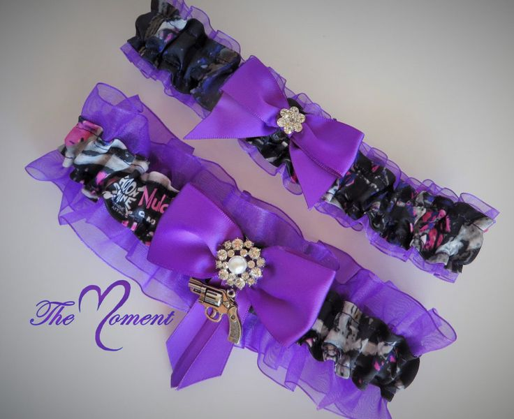 Muddy Girl Camo Garter Set Purple Wedding Prom Keepsake